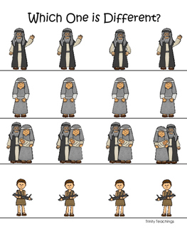 Abraham and Sarah Which One is Different printable game. Preschool Bible Study
