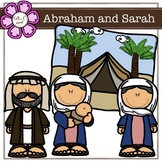 Abraham and Sarah digital Clipart (color and black&white)