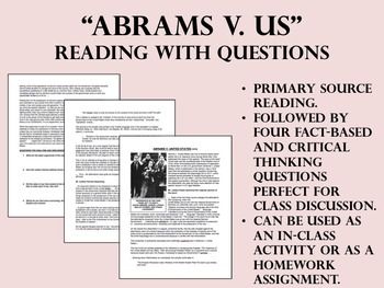 """Abrams v. US"" - Reading with Questions - World War I - USH/APUSH"