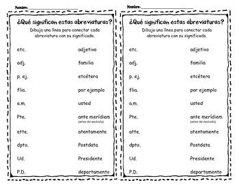 Spanish Abbreviations (Abreviaturas)
