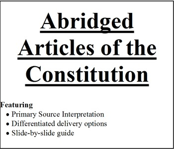 Abridged Articles of the Constitution and Bill of Rights bundle