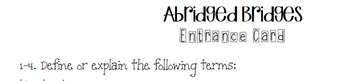 Abridged Bridges - A STEM mini-unit