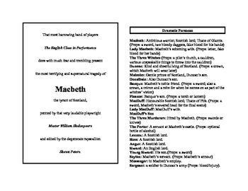 Abridged Shakespeare for English Classes: Macbeth