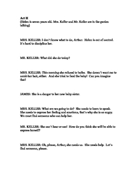 """Abridged Script of """"The Miracle Worker"""" with Questions"""