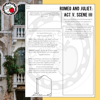 Abridged and Modified Romeo and Juliet Side-by-Side Text and Questions: Act V
