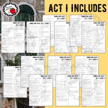Abridged and Modified Romeo and Juliet Side-by-Side Text and Questions Bundle