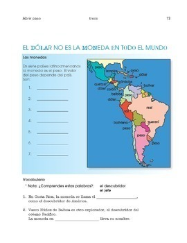 Spanish 1 - Cultural activities for the entire school year - Abrir paso Libro 1