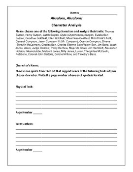 Absalom, Absalom! Character Analysis Activity - William Faulkner