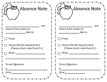 Absence Excuse From School Note with Apple
