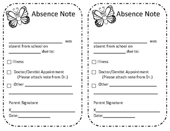 Absence Excuse From School Note with Butterfly