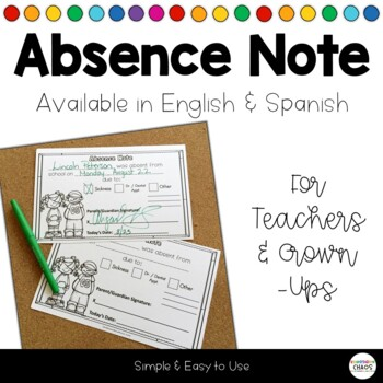 Absence Excuse Note By Kindergarten Chaos  Teachers Pay Teachers