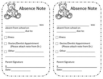 Absence Excuse from School Note