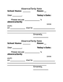 Absence Tardy Note Form