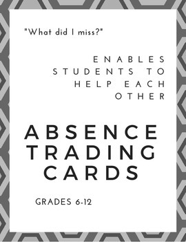 Absence Trading Cards | Perfect for First Day of School