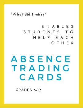 Absence Trading Cards| Color | Perfect for First Day of School