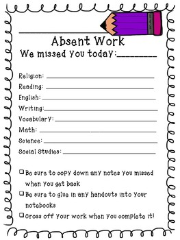 Absent Day Template