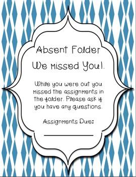absent folder covers by trekking through third grade tpt