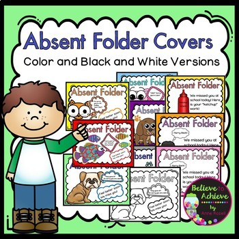 Absent Folder Covers- 9 Covers in Color and Black and White