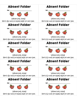 Absent Folder Labels (Avery 5163)