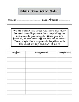 Absent Folder Missed Assignments Checklist Chart for Students