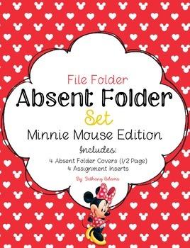 Absent Folder Set ~Minnie Mouse Edition~ Just Add a File Folder!