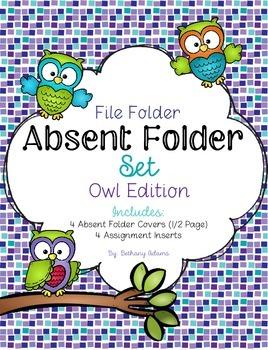 Absent Folder Set ~Owl Edition~ Just Add a File Folder!
