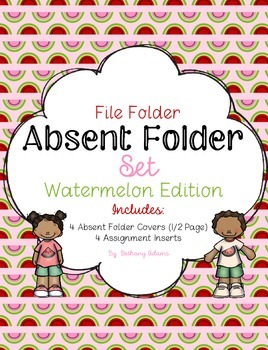 Absent Folder Set ~Watermelon Edition~ Just Add a File Folder!