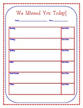Absent Form - We Missed You! Editable Student/Parent Communication