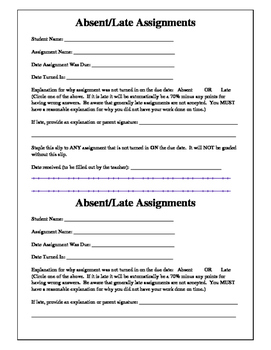 Absent/Late Assignments