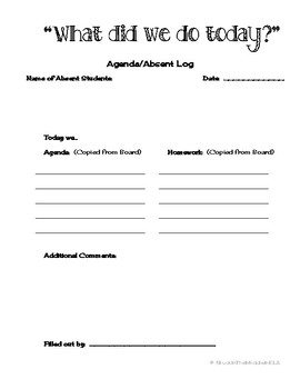 Absent Log Binder Sheet