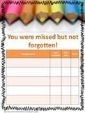 Absent Make Up Work Child Sheet