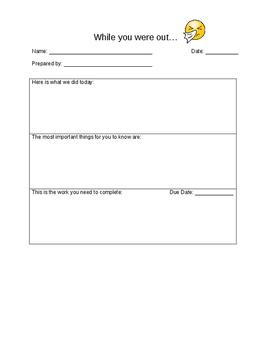 Absent Make Up Work Form