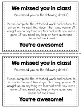 Absent Note for Students FREEBIE!