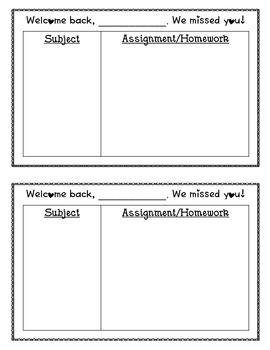 Absent Sheet- Missed Assignment/ Homework Chart