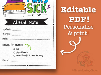 Absent / Sick Note | Note for Teacher | School Excuse Note | Editable PDF