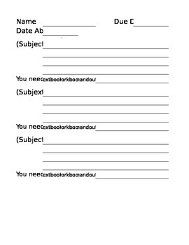Absent Sign Out Sheets