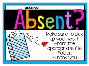 Absent Signs for your bins or crates!