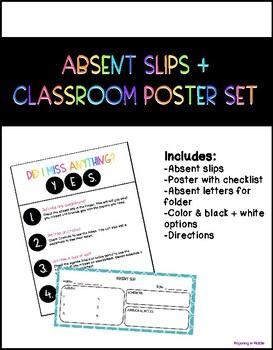 Absent Slips + Poster Set