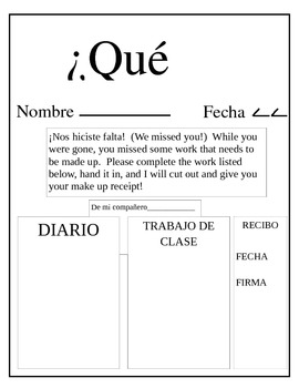 Absent Student Assignment Sheet - Spanish