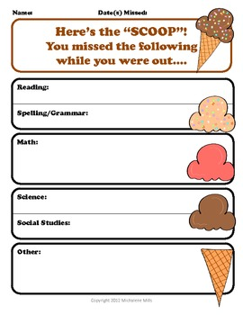 Absent Student Form While you were out by The Teacher in Me | TpT