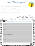 Absent Student Form for Missed Work Bee Theme