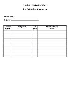 Absent Student Graphic Organizer