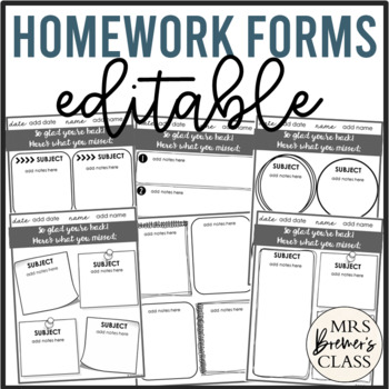 EDITABLE Homework Templates / Forms
