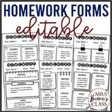 EDITABLE Homework Forms