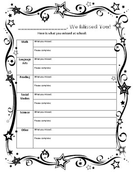 Absent Student Make-Up Work Sheet