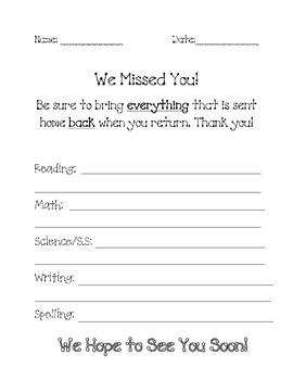 Absent Student Sheet