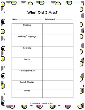 Absent Student Work Form