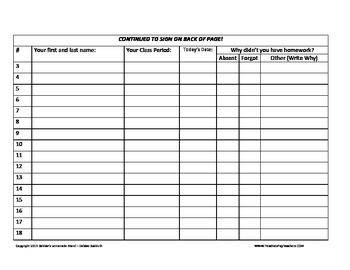 Absent Student/Missing Homework Sign In Sheet