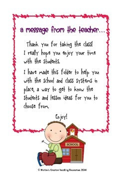 Absent Teacher Folder {a way to inform others of your class and systems}