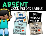 Absent Work Folder Labels - Fits Target Adhesive Clear Pockets